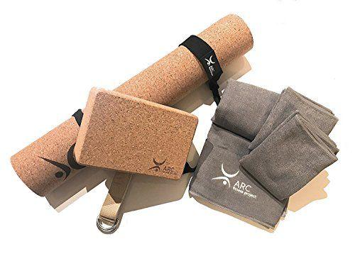 Cork Yoga Set Starter Kit 6 Pcs Set Yoga Beginners Set Cork 4mm Yoga Mat 1 Yoga Block 8 Ft Yoga Strap 1 Large Mi With Images Yoga Strap Yoga Equipment Yoga Block