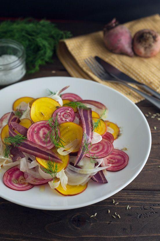 Beet Fennel and Heirloom Carrot Salad