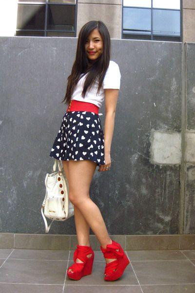dessert before dinner!: Outfit Pop, Summer Outfit, Red Shoes, July Outfit, Red Chuck, Outfit Ideas ️, Blue Red, Style Ideas, Dressy Outfits