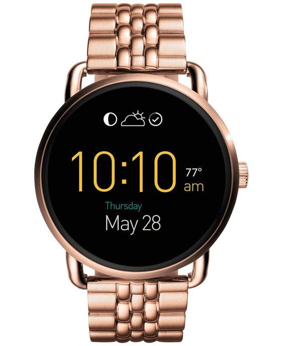 Fossil Women's Digital Q Wander Rose Gold-Tone Stainless Steel Bracelet Smart Watch 45mm FTW2112