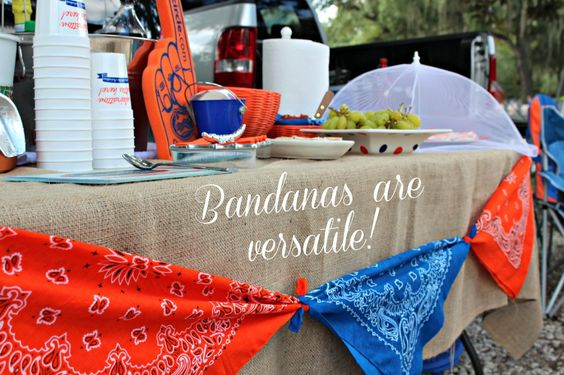 Tailgate Tip: a few yards of burlap plus some bandanas for a casual-yet-colorful table dressing.