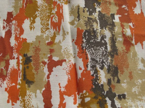 Mid Century Modern Brown And Orange Curtain Wide Panel Orange Modern And Curtains