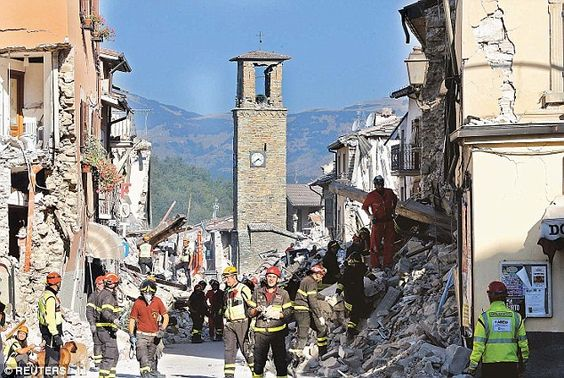 Italian authorities fear the Mafia have infiltrated the building trade and are set to profit from the clean-up after last week's devastating earthquake. Pictures show the ruins in the town of Amatrice