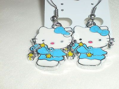 Girls/children jewellery #turqoise blue #silver plate #hello kitty gift earrings,  View more on the LINK: http://www.zeppy.io/product/gb/2/172296078103/