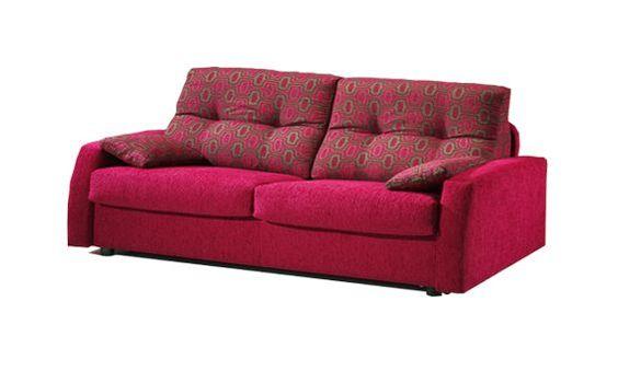 Sofa dos plazas fijo. Sofa tapizado en tela de colores combinados.Sofa de diseño muy moderno y actual