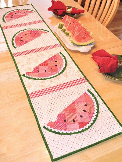Kitchen Quilting Ideas : Patchwork Watermelon Table Runner Pattern Annies quilt pattern USD 9.49 Table Runners Pinterest ...