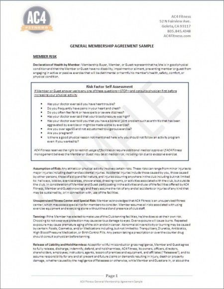 Membership Agreement AC4Fitness - membership agreement - employment release agreement