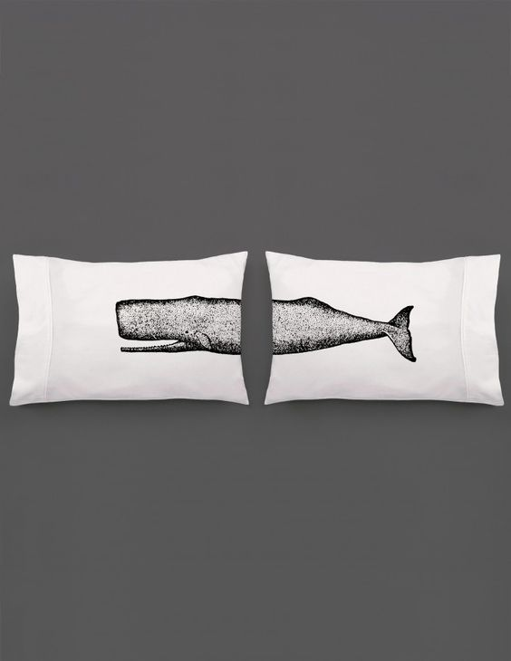 One big design. Our all-time best seller!  Sperm Whale Pillowcase Set by bros with beards.  Nautical decor / Beach house decor / Ocean Decor https://broswithbeards.com