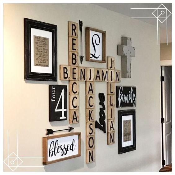 houten muurdecoratie met scrabble letters