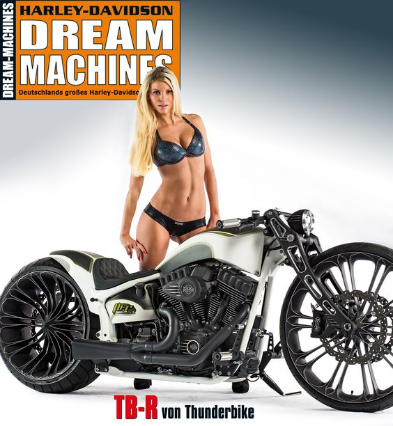 "The next cover-bike of german ""Dream Machines"" Magazine is our #Thunderbike TB-R, a customized Softail Breakout with our new frontend & 26""/21"" Unbreakable monoblock wheels."