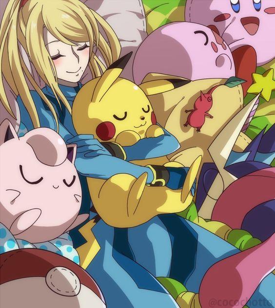 Zero Suit Samus And Pikachu Kiss