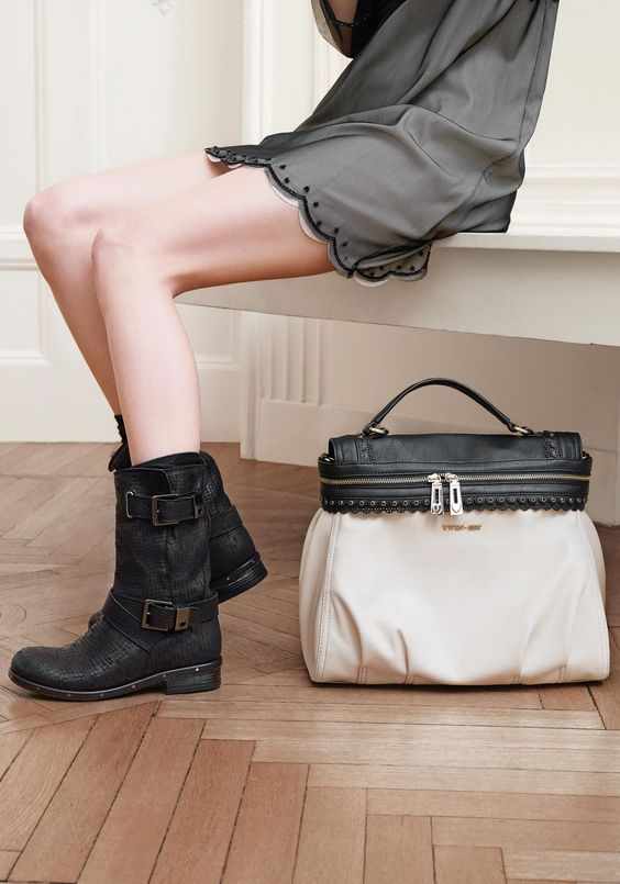 TWIN-SET Simona Barbieri: Cécile satchel bag and printed leather high biker boots with straps, custom buckles and loop