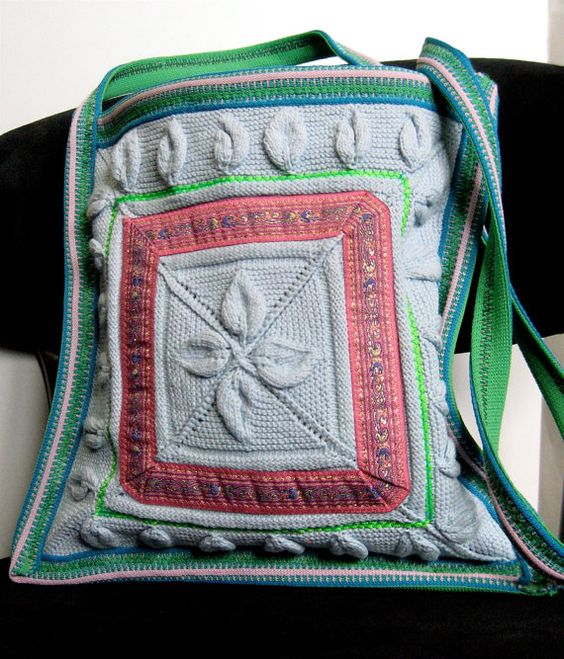 Simple Hippie Shoulder Bag made of Upcycled by ClothGoneWild, $12.00