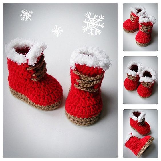 Christmas Baby Booties, Red color, Crochet Shoes, Baby ...