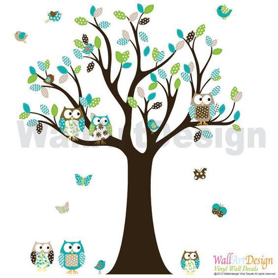 Custom Listing 85h Vinyl Wall Decal Stickers Owl Tree Set Nursery Boy Baby