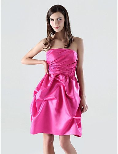 Fuchsia A-line Strapless Pick-up Satin Sweet 16 / Prom Dresses ...