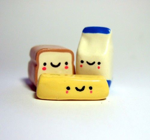 Kawaii Happy Loaf of Bread Container of Milk by TheHappyAcorn, $22,00