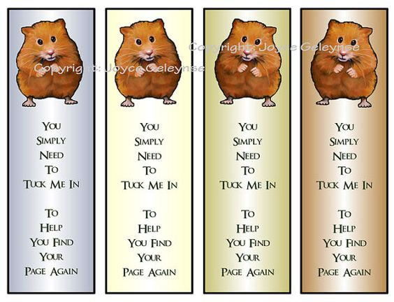 Printable Bookmarks Cute Hamster Reading Kids Party