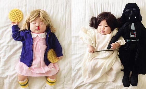Overdose de fofura: mãe fantasia filha adormecida