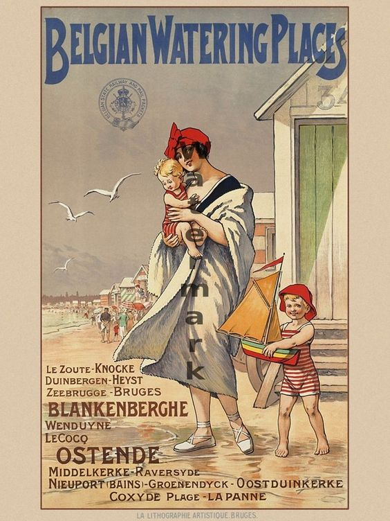 "Vintage Travel Poster ""Belgian Watering Places"" 18""x24"" #ArtNouveau"