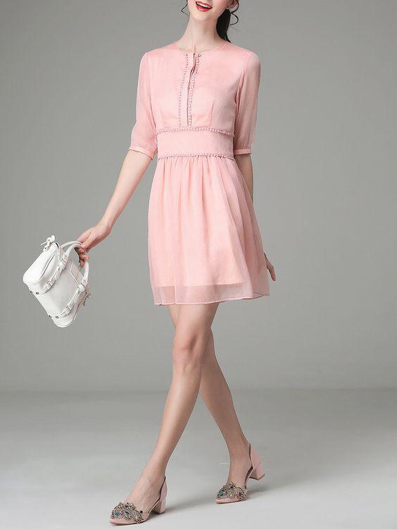 Pink Work Crew Neck A-line Zipper Mini Dress - StyleWe.com