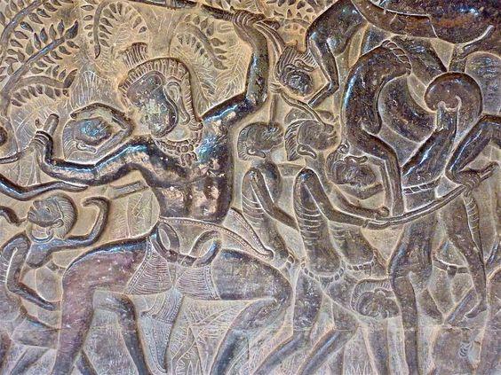 Những hình họa được khắc trên tường của Angkor Wat