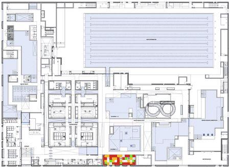 Floor plan aquatic center by jean nouvel le havre for Piscine des docks le havre