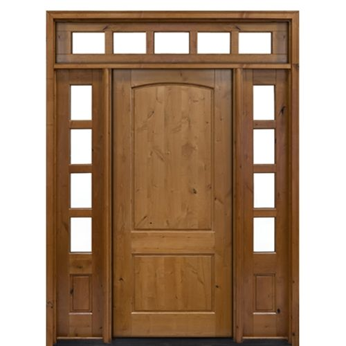Mai Doors Ka400 1 2 T 2 Panel Arch Top Panel Knotty Alder Wood Entry Door With Two Sidelites And Transom Wood Doors Interior Entry Doors Entrance Door Decor