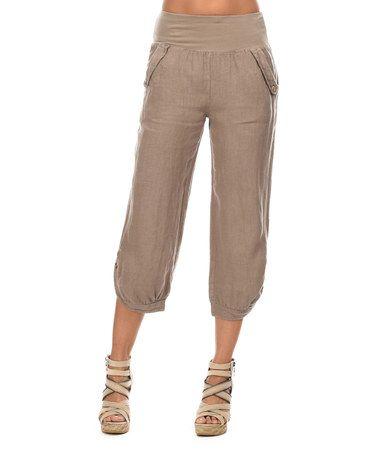 Comptoir du Lin Taupe Linen Capri Pants - Women | Taupe, Capri and ...