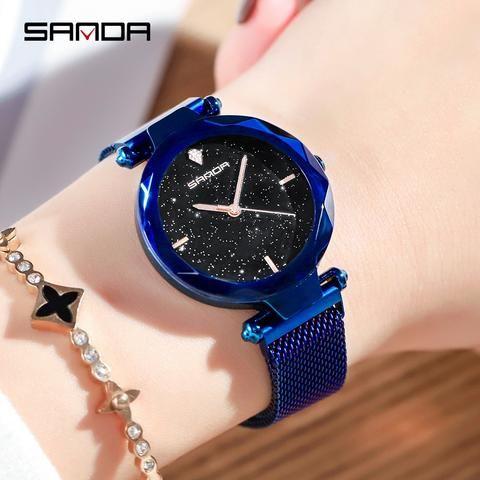 Sanda Fashion Women Watches 2018 Simple Quartz Ladies Watch Creative Milan Mesh Belt Magnetic Clasp Clock Wo Watches Women Simple Womens Watches Trendy Watches