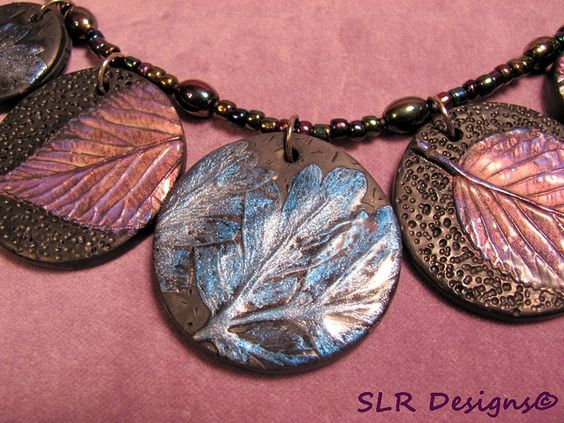 Necklace with molded leaves, mica powders & texture