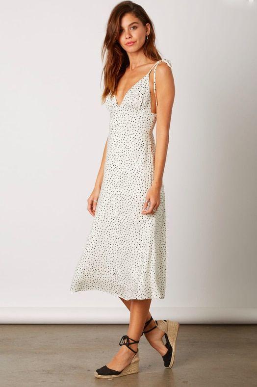 Cotton Candy La White Speck Print Midi Dress Boho Midi Dress Midi Dress Printed Midi Dress