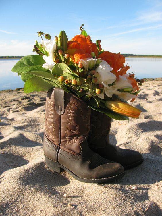 country fall wedding. orange + cowboy boots