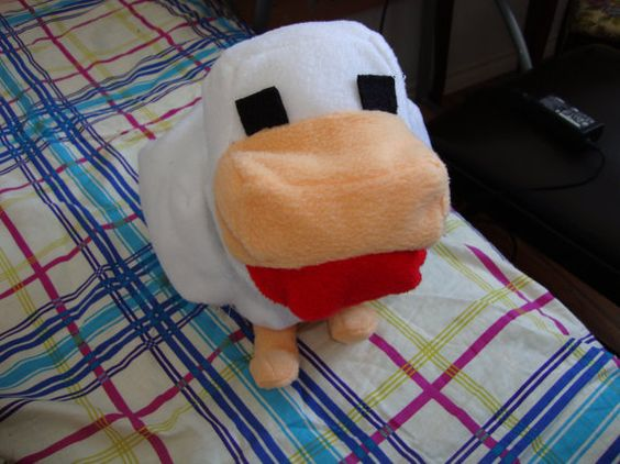 Minecraft Chicken Plush / Stuffed Toy 10  tall by MythFashion, $25.00