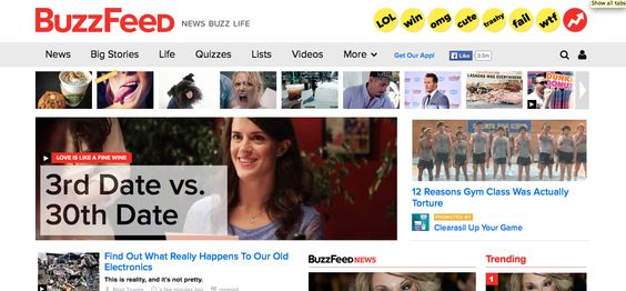 I think that the BuzzFeed website has a well designed main content area. I think that the square design of the content flows well on the page. I also like the logo in the left corner and the categorized yellow links on the right side. I think that the various square designs make the information appear more organized. I would like to incorporate something similar to the yellow circular designs on my website to add a pop of color.