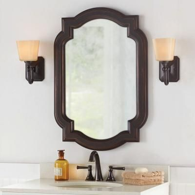Home decorators collection 22 in w x 32 in l framed fog free wall mirror in oil rubbed bronze Home decorators collection mirrors