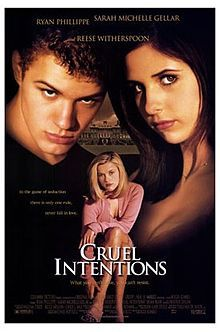 Cruel Intentions - (1999)  Director: Roger Kumble  Stars: Sarah Michelle Gellar, Ryan Phillippe, Reese Witherspoon   Kathryn makes a bet that her step-brother, Sebastian, won't be able to bed Annette (a virgin, who wants to wait until love). If he loses, Kathryn gets his Jaguar, if he wins, he gets Kathryn.