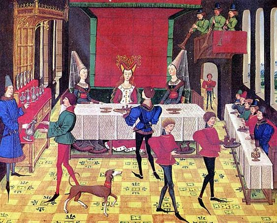 """L'alimentation,la cuisine les repas. Au château, les convives sont invités à passer à table au son du cor. Le cor ou la trompette annonce aussi chaque changement de service. C'est ce que le chroniqueur Froissart appelle """"corner l'assiette""""."""