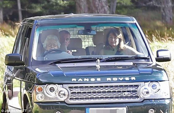 dailymail:  Queen Elizabeth drove the Duchess of Cambridge's mother Carole Middleton around the Balmoral estate, September 10, 2016; both Carole and Michael Middleton spend the weekend with the Cambridges at Prince Charles' estate of Birkhall.