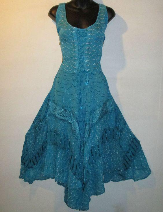 Dress Fit XL 1X 2X Plus Renaissance Turquoise Corset Lace Up Chest Sexy Long 612 #FT #Dress #Casual