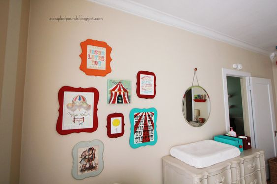 Love the subtle circus accents added to this sweet nursery for boy/girl twins. #nursery