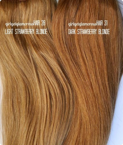 Light Strawberry Blonde Shade 28 Remy Hair Extensions Light
