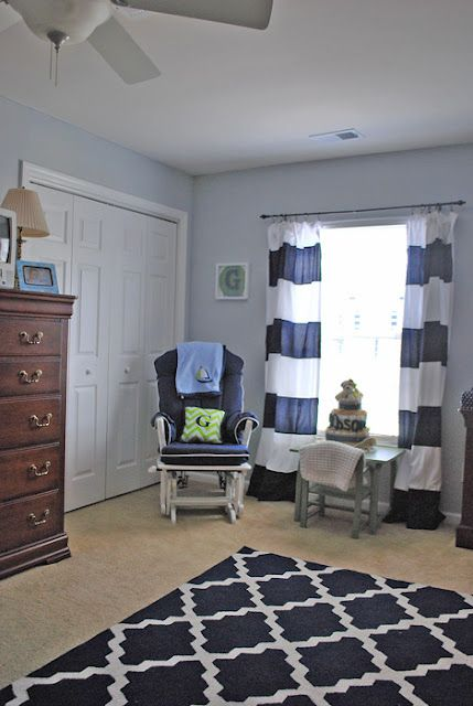 Gray Walls White Curtains With Navy Stripes Sewed On