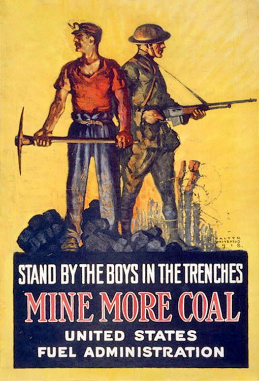 WW1 poster encouraging miners to work harder to support the war effort.