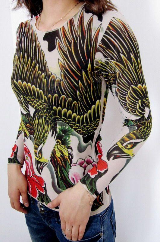 Goshawk Tattoo Long Shirt $7.6 wholesale - www.tidequeen.com