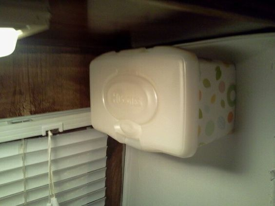 Huggies wipe box for kleenexs to hang in your RV.