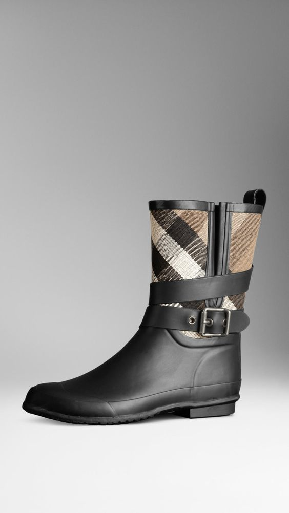 Check Detail Belted Rain Boots | Burberry