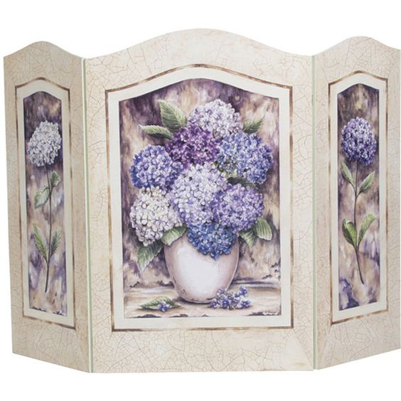 Stupell Hydrangea Shabby Chic Fire Screen ($65) ❤ liked on Polyvore featuring home, home decor, fireplace accessories, purple, shabby chic home decor, purple home decor, fireplace screens and fire-place screen