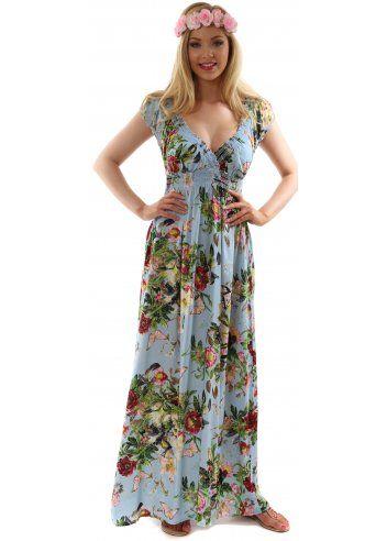 Stella Morgan Pretty Floral &amp- Butterfly Print Blue Boho Maxi Dress ...