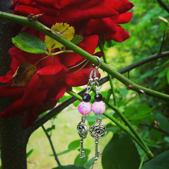 Hey, I found this really awesome Etsy listing at https://www.etsy.com/listing/233394494/pink-and-black-key-charm-earrings
